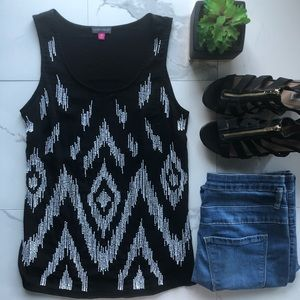 Vince Camuto Black And White Beaded Tank Top